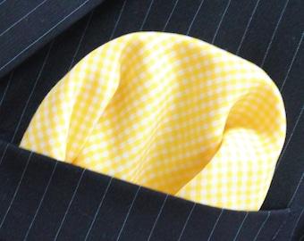 Hankie Pocket Square Handkerchief Soft yellow Gingham. Premium Cotton - UK Made