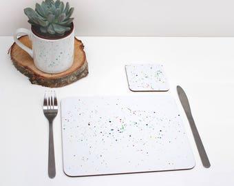 Multicoloured paint splatter Placemat | Tabletmat set | Colour Pop | Table Setting | Modern Home | Scandi Home | Place mat