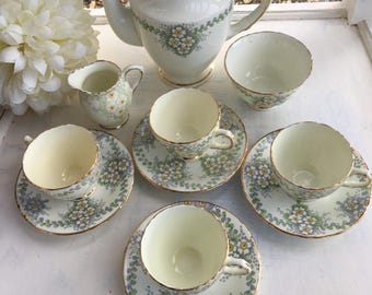 Stunning Delphine Bone China Coffee set Coffee Pot 4 Cups and Saucers Milk Jug Sugar Bowl