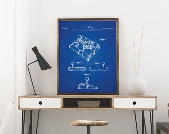 Nintendo Printables, NES Advantage Joystick, Nintendo Decor, Gamer Gift, Game Room Wall Art - Wall Decor Art - Blueprint