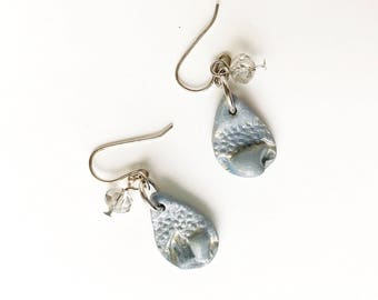 Floral Imprint Polymer Clay Earrings with Charm