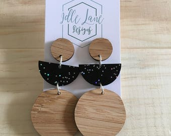 Bamboo and Black Galactic Glitter Dangles