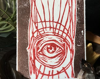 Eye//gifts for her//gifts for him//Kunstdruck//graphics//Linocut