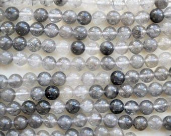 8mm Gray Quartz beads, full strand, natural stone beads, round, quartz beads, 80033