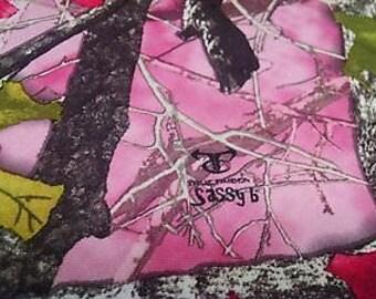 "Sassy B Pink Bridal Satin Camo Fabric True Timber 58"" Wide Hunting Camouflage Ladies"