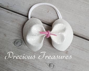 WHITE GLITTER BOW | suede wrapped sparkle bow | large white headband