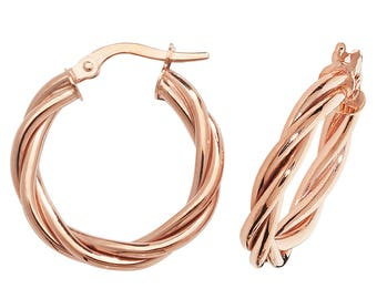 9ct Rose Gold Twisted Rope Design Hoop Earrings 15mm 20mm 30mm