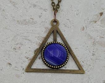 Purple Onyx Agate triangle Third Eye pendant necklace
