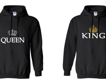Queen King COUPLE Printed Adult Unisex Hooded Sweatshirt  Hoodies for Men and Women Valentine's Day Matching Clothes