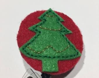 Handmade Holiday Christmas Tree Badge Reel cover