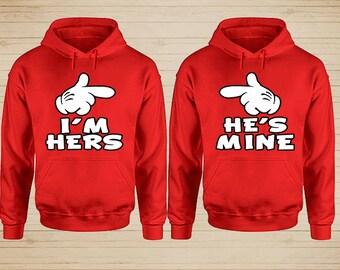 I'm Hers He's Mine Couple Hoodies, Disney Couple Hoodies, Matching Couple Hoodies, Couple Sweatshirt, King and Queen Hoodies, Couple Sweater