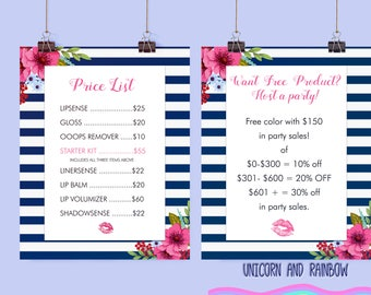 """Lipsense Price lits and Host a Party sign- Instant Download. 8x10"""""""