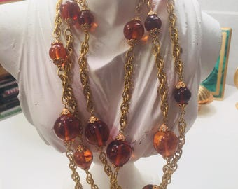 Stunning vintage 1960's runway necklace with tortoise color glass beads...divine