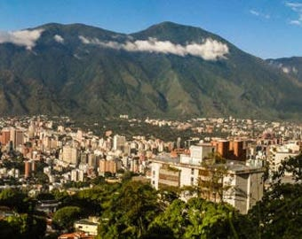 Color Photograph of a Panoramic view of Caracas with the Avila in the Background for Download