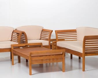Cherry Creek Coffee Collection   DTY Outdoor Living 5 Piece Eucalyptus Patio  Furniture Set With