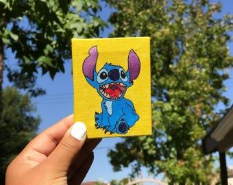 Disney Stitch from Lilo and Stitch Acrylic Painting on 2x3 Mini Canvas