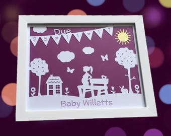 Personalised Due Date Papercut - Framed