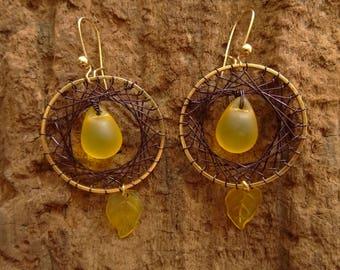 Bohemian, drop earrings / leaf