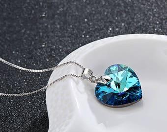 Classic Swarovski Element Heart Pendant Necklace Heart of the Ocean blue