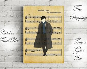 Sherlock Theme Music Art Metal Print-Sherlock Poster-Sherlock Gift-Sherlock Wall Decor-Sherlock and Watson-Friend Gift-Nerd Gift-Sherlock'd