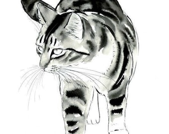 Tabby Cat Original Watercolor Painting