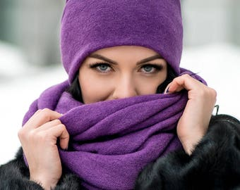 Purple Set Cloche Hat and Infinity Scarf Large Wraparound Warm Winter Beanie Neckwarmer Scarf Christmas Gift For Her
