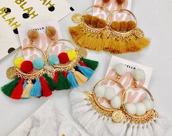 Ida Tassel Pom Pom Earrings