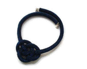 Dark blue Necklace of Shining Beads Long beaded crochet rope necklace Seed bead jewelry Bohemian necklace Mothers day gift Elegant knot