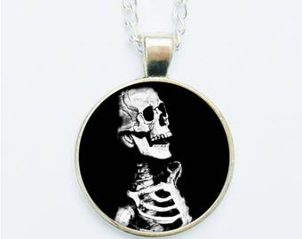 Skeleton Pendant Necklace Earrings Ring or Pin Badge Brooch Medical Anatomy Bones Macabre Grotesque Chilling Goth Spooky Jewelry Jewellery
