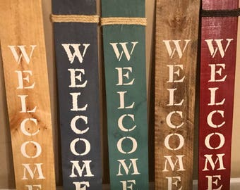 Rustic Farmhouse Wooden Front Door Welcome Sign