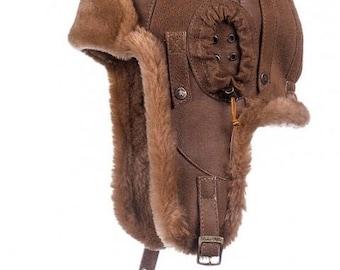 SHEEPSKIN trapper hat Bomber pilot aviator motorcycle cap fur warm ushanka beanie leather headwear with earflaps ear caps brown for men gift