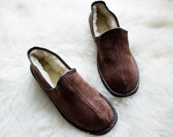 SHEEPSKIN slippers LEATHER moccasins for men  fur winter boots soled slippers socks wool woolen shoes suede leather brown handmade gift