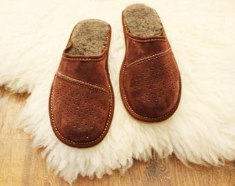 Man slippers natural leather slippers man shoes leather shoes fur sheepskin slippers woolen indoor boots men boyfriend father  gift handmade