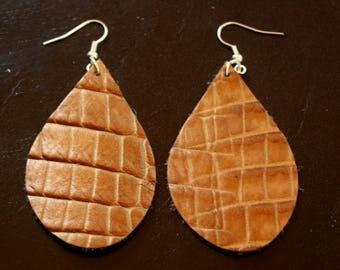 Copper Leather Earrings
