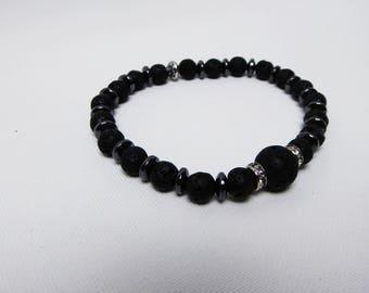 Pearl bracelet made of lava stones with shiny elements/bracelet line 01