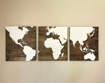 Wooden World Map: Hand Painted