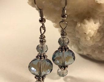 Blue bridal earrings, bridal jewelry, chic sparkle earrings, dangle earrings, drop earrings, BOHO, wedding, blue jewelry, Prom Earrings