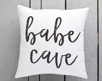 babe cave gift, babe cave pillow, babe cave cushion, brush script pillow, brush script cushion, script writing gift, gift for her