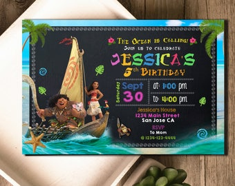 Moana Birthday, Moana Invitation, Moana Party, Moana Invite, Moana Birthday Invitation, Moana Birthday Party, Moana Party Invitation, F0824