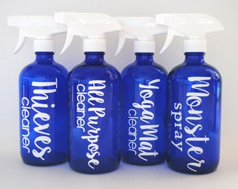 BARGAIN DEAL: 4 Empty Cobalt or Amber Glass Spray Bottles with Adjustable Trigger Sprayer ~ 16 oz Refillable Container