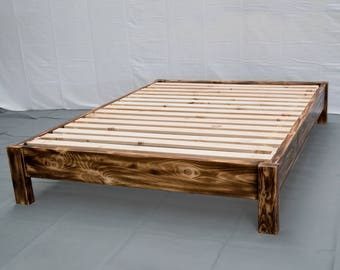 torched farmhouse platform bed traditional platform frame wood platform reclaimed bed modern - Wooden Platform Bed Frames