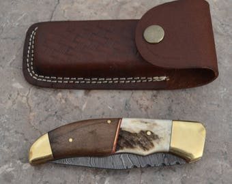 Damascus Steel Pocket Knife with Stag Horn and Walnut Handle (FK 02)