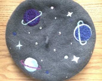 Grey felted wool cosmic themed Parisian beret with cute planets and stars