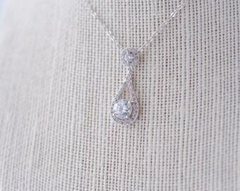 Ella Cubic Zirconia Necklace, Silver CZ Necklace, Bridal Necklace, Wedding Necklace, Crystal Silver Necklace, Dainty Teardrop Necklace