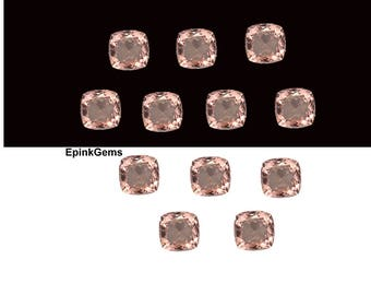 Natural Morganite Cushion Shape Faceted Cut, 4mm to 12mm Morganite Cut Cushion, Morganite Pendant, Morganite Ring