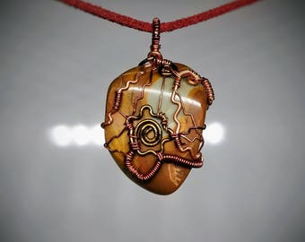 Blue Mustang Jasper Pendant - Wire Wrapped Jewelry - Polished Orange and Blue Stone - Handmade Necklace - Spiral Wire Design