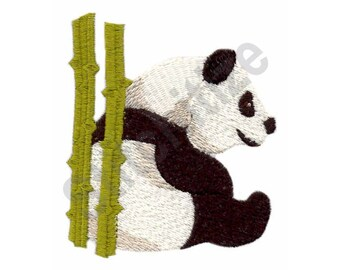 Panda Bear With Bamboo - Machine Embroidery Design