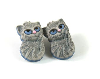 Cat studs, Cat earrings, Gray cat earrings, Gray cat studs, Cat lovers gift