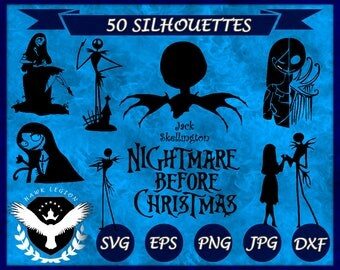50 Nightmare Before Christmas Silhouette | Nightmare Before Christmas SVG | Jack Skellington | Jack And Sally | Tim Burton | SVG Cut Files