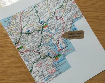 Good luck on you next adventure... - Handmade Map Design Card